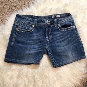 Miss Me Denim Bling Cross Shorts, Size 30
